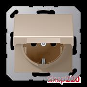 Розетка электрическая с крышкой (механизм), шампань, Jung A500 A1520BFKLCH
