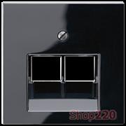 Накладка для двойной компьютерной розетки, черный, Jung A500 A569-2BFPLUASW