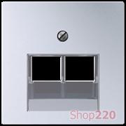 Накладка для двойной компьютерной розетки, алюминий, Jung A500 A569-2BFPLUAAL