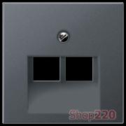 Накладка для двойной компьютерной розетки, антрацит матт, Jung A500 A569-2BFPLUAANM
