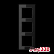 Рамка 3 поста, черное стекло, Jung A Creation AC583GLSW