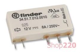 Ультратонкое реле 12 В для монтажа на печатную плату, постоянный ток, 345170120010 Finder