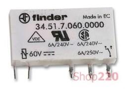 Ультратонкое реле 60 В для монтажа на печатную плату, постоянный ток, 345170600010 Finder