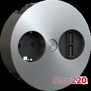 ВРЕЗНАЯ РОЗЕТКА В СТОЛ BACHMANN TWIST 220В + USB-DATA, НЕРЖАВЕЮЩАЯ СТАЛЬ