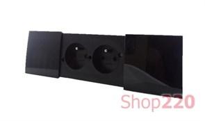 Врезной блок розеток Bachmann Due 2x220, черный