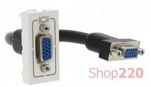Розетка HD15 с соединительным кабелем, 1 модуль, белый, 78777 Legrand Mosaic