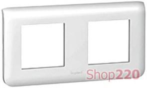 Рамка для модулей 2x2, горизонтальня, белый, 78804 Legrand Mosaic