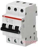 Автоматический выключатель 6А, 3 полюса, уставка C, ABB SH203-C6