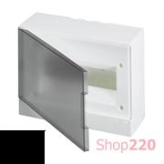 Шкаф электрический на 12 модулей, навесной, прозрачная черная дверца, ABB BEW402212