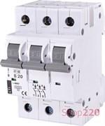 Автоматический выключатель 20А, 3 полюса, тип B, Eti 2175317