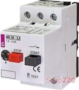 Автомат защиты двигателя 2,5А, MS25-2,5 ETI 4600070