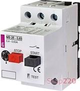 Автомат защиты двигателя 0,63А, MS25-0,63 ETI 4600040