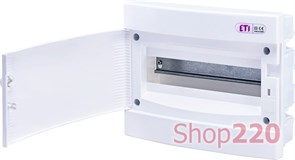 Щит электрический на 12 модулей, белая дверь, внутренний, ECМ 12PO ETI 1101015