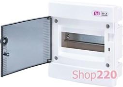 Щит электрический на 8 модулей, черная дверь, внутренний, ECМ 8PT ETI 1101010