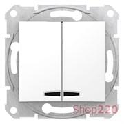 Выключатель 2-х клавишный с подсветкой, белый, SDN0300321 Sedna Schneider