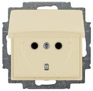 Розетка с заземлением и крышкой, слоновая кость, ABB 20 EUK-92-507 Basic 55