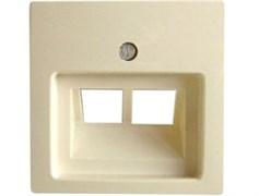 Накладка для двойной компьютерной розетки, слоновая кость, ABB 1803-02-92-507 Basic 55