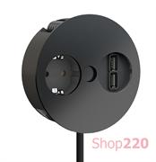 Врезная розетка в стол Bachmann TWIST 220В + USB зарядное, черный матовый