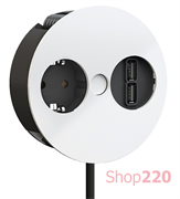 Врезная розетка в стол Bachmann TWIST 220В + USB зарядное, белый матовый