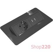 Блок розеток в стол 220В + USB, черный, Axessline QuickBox, Kondator