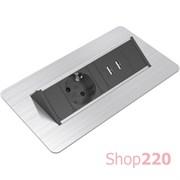 Блок розеток в стол 220В + USB, нержавеющая сталь, Axessline QuickBox
