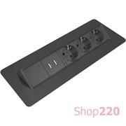 Блок розеток в стол 3х220В + USB, черный, Axessline QuickBox Kondator