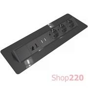 Блок розеток в стол 220В + USB + HDMI + RJ45, черный, Axessline QuickBox Kondator