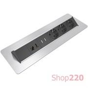 Блок розеток в стол 220В + USB + HDMI + RJ45, нержавеющая сталь, Axessline QuickBox Kondator