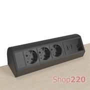 Блок розеток на стол 220В + USB + RJ45, черный, Axessline Desk Kondator