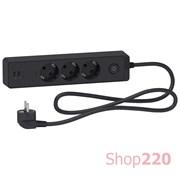 Удлинитель на 3 розетки + USB, шнур 1,5м, черный, Unica Extend ST943U1B Schneider