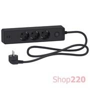 Удлинитель на 3 розетки + USB, шнур 3м, черный, Unica Extend ST943U3B Schneider