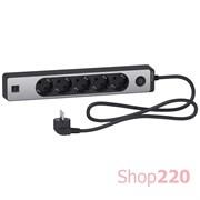 Удлинитель на 5 розеток + USB, шнур 1.5м, черный/алюминий, Unica Extend ST945U1BA Schneider