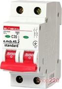 Автоматический выключатель 20А, 2-полюсный, хар-ка С, e.mcb.stand.45.2.C20 s002018 E.NEXT
