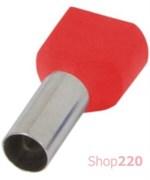 Наконечник втулочный (гильза) под два провода 2.5 мм кв, красный, Enext s4037007