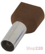 Наконечник втулочный (гильза) под два провода 10 мм кв, коричневый, Enext s4037011