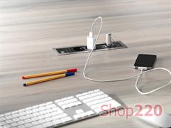 Врезной блок розеток 220В + USB, Bachmann Power Frame, белая рамка