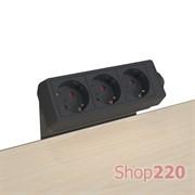 Блок розеток на стол 220В, черный, EcoDesk Kondator