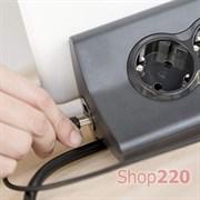 Удлинитель с держателем планшета на 3 розетки и USB, черный, 694811 Legrand