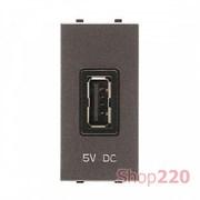 Розетка USB для зарядки, 1мод., антрацит, Zenit ABB N2185 AN