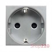 Розетка с заземлением, серебристый, Zenit ABB N2288 PL