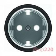 Накладка розетки, хром/черное стекло, Sky Moon ABB 8688.9 CN