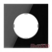 Рамка 1 пост, черное стекло, Sky Moon ABB 8671 CN
