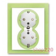 Розетка электрическая двойная, зеленый лед, Neo ABB