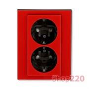 Розетка электрическая двойная, красный, Levit ABB 5522H-C03457 65
