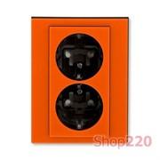Розетка электрическая двойная, оранжевый, Levit ABB