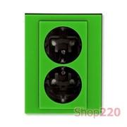 Розетка электрическая двойная, зеленый, Levit ABB 5522H-C03457 67