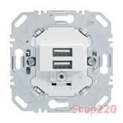 USB розетка для зарядки устройств, двойная, полярная белизна, Berker 260209