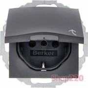 Розетка со шторками и крышкой, антрацит, S.1 Berker 47441606