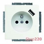 Розетка электрическая + USB для подзарядки, белый, ABB 20 EUCBUSB-94-507 Basic 55