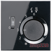 Накладка терморегулятора, черный, пластик, Jung LSFTR231PLSW